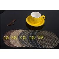 欧式隔热垫餐桌垫 布艺西餐垫餐布14cm圆形PVC咖啡杯垫餐具垫