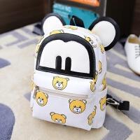 PU皮质米奇幼儿园书包男女儿童卡通双肩背包1-2-3岁小班可爱韩版 白色 小熊 PU