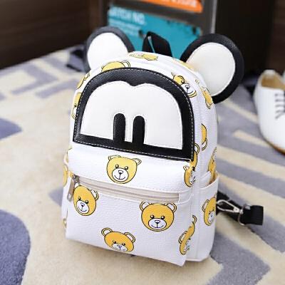 PU皮质米奇幼儿园书包男女儿童卡通双肩背包1-2-3岁小班可爱韩版 白色 小熊 PU 发货周期:一般在付款后2-90天左右发货,具体发货时间请以与客服协商的时间为准