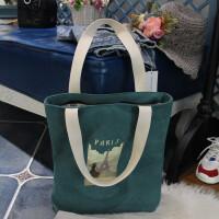 韩国简约帆布包女单肩手提包袋学生书包文艺布包百搭购物休闲包