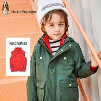 【7折价:391.3元】暇步士童装冬季新款男童厚风衣外套时尚可拆卸马甲风衣外套儿童风衣外套