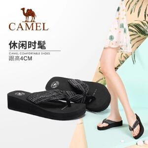 Camel/骆驼女鞋 2018夏季新品简约休闲轻便厚底坡跟人字拖