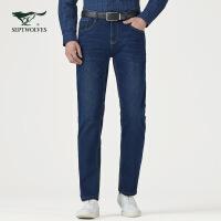 七匹狼牛仔裤秋季青年男士时尚商务休闲微弹裤子中低腰牛仔长裤