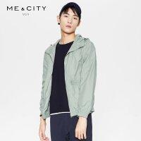 【全场2件2.5折,到手价:154.8】MECITY男装春季运动短款轻薄连帽夹克外套男时尚