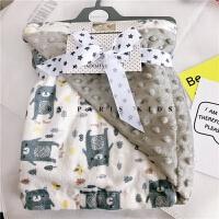春夏婴儿毛毯宝宝推车盖毯新生儿抱被儿童空调卡通法兰绒豆豆洞毯 灰小熊 豆豆毯