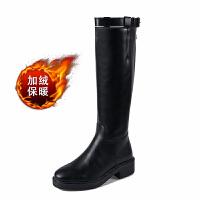 2018秋冬季新款英���L�L筒靴女�R丁靴�T士靴女中高筒靴皮�L靴 黑色 加�q