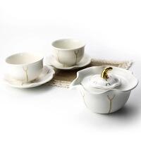 唐乾乾唐轩活瓷茶具鎏金夏荷茶具组1壶2杯2盘创意陶瓷