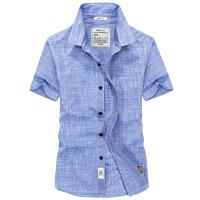 短袖�r衫男士2018新款商�招蓍e寸衫夏季薄款�棉�n版修身�色�r衣
