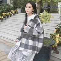 秋冬女装韩版复古翻领休闲格子毛呢外套宽松短款学生百搭呢子大衣