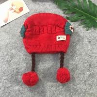 女宝宝假发帽子秋冬韩版毛线帽子婴儿公主帽子0-1-3岁加厚护耳帽 S