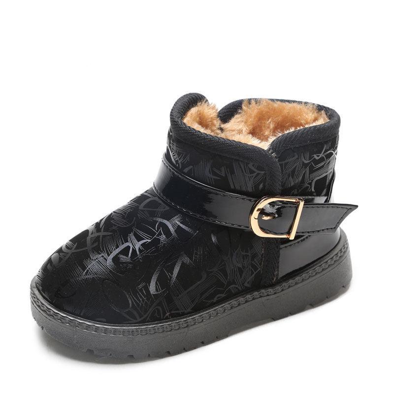 男童雪地靴2018冬季儿童雪地靴女童防水防滑棉靴宝宝靴子新款童鞋   防滑保暖