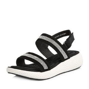 Tata/他她2018夏专柜同款羊皮水钻休闲坡跟女凉鞋FSA01BL8
