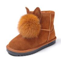 女童雪地靴2018新款真毛儿童靴子女童短靴加绒加厚女童棉靴中大童