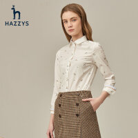 Hazzys哈吉斯2020新款�L袖白色�r衫女印花��松女士白�r衣�n版女�b