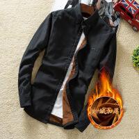 秋冬季加绒衬衫男士加厚保暖长袖格子衬衣青年韩版修身寸衫外套潮