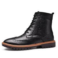 冬季英伦马丁靴布洛克雕花高帮真皮加绒靴子男皮棉鞋