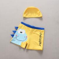 儿童泳衣 男童宝宝泳裤小童分体泳装套装小男孩卡通泳裤带帽 HX-17120黄色泳裤