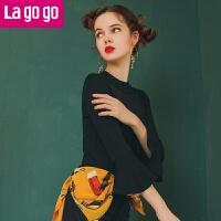 【618大促-每满100减50】Lagogo/拉谷谷2018年春季新款时尚喇叭袖针织衫