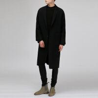 冬季新款毛呢大衣男中长款宽松韩版呢子大衣仿羊绒大衣风衣加厚外套