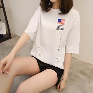 半袖女2018新款T恤破洞时尚短袖夏季上衣学生韩版百搭宽松中长款