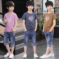 男童套装夏装新款儿童装夏季牛仔短裤中大童短袖韩版