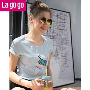 【清仓3折价77.7】Lagogo2019夏季新款短袖t恤图案圆领女装宽松甜美韩范上衣chicHATT314G85