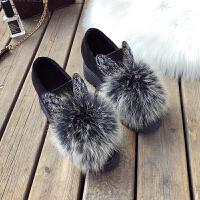 内增高毛毛鞋女秋冬韩版烫钻兔耳朵加绒可爱坡跟豆豆棉鞋lkf 黑白 加绒