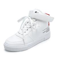 加绒高帮板鞋2018韩版款帆布鞋秋冬季女二棉鞋休闲百搭学生白鞋子