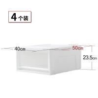 4个装透明儿童衣物收纳箱塑料整理箱 爱丽丝抽屉柜衣柜盒 白色 4个装