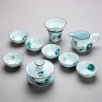 手绘功夫茶具套装家用简约陶瓷整套青瓷喝茶功夫茶具茶杯盖碗茶壶