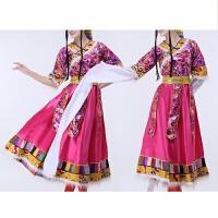 藏族舞蹈演出服装 女 水袖 舞台装藏族舞蹈服装少数民族服表演服
