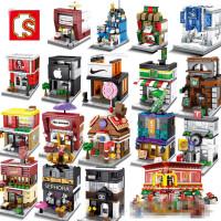 兼容乐高森宝迷你街景城市小房子商场甜品店女孩拼装积木益智玩具