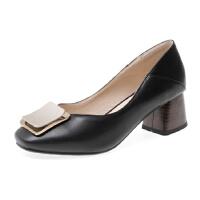 WARORWAR法国新品YGN020-2-7春夏欧美真皮粗跟中跟女单鞋