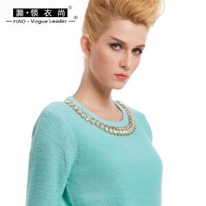 女装百搭毛衣纯色上衣手工钉珠圆领套头