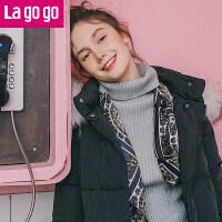 Lagogo2017冬季新款貉子毛白鸭绒连帽黑色羽绒服女中长款过膝宽松