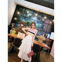 套装女夏2018新款韩版彩色条纹针织吊带上衣+松紧腰裙两件套 条纹+白 均码