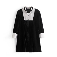 女装2018春装新款欧美风时尚气质翻领天鹅绒七分袖连衣裙女