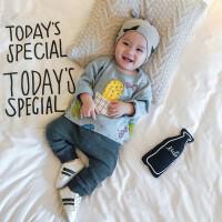 婴儿秋装0-3岁2男宝宝仙人掌T恤+纯色裤子外出纯棉新生儿套装