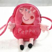 新款小猪佩琪包包手机包 毛绒1-3-6岁儿童斜挎包女童迷你小挎 佩琪