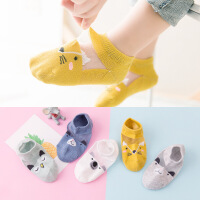 宝宝袜子夏季薄款棉袜男女童网眼透气卡通短袜儿童船袜
