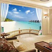 省心客厅电视背景墙壁纸3d立体大型壁画无缝卧室墙纸壁画窗外海景