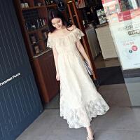 夏季新款连衣裙刺绣钩花蕾丝一字领露肩长裙度假沙滩仙女显瘦