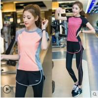 时尚韩版新款健身服女 新款瑜伽服套装 显瘦跑步运动服装假二件套