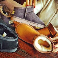 2017冬季新款韩版百搭真皮加绒雪地靴女短筒保暖学生低帮短靴棉鞋