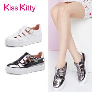 KissKitty奇思凯蒂2017新款小白鞋镂空百搭厚底松糕罗马单鞋女夏