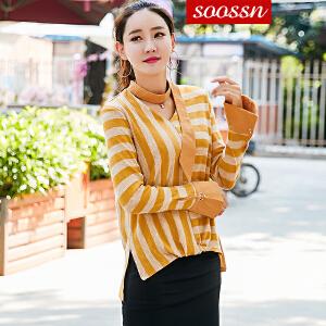 SOOSSN 2018秋韩版宽松长袖女毛衣针织衫套头新款条纹系带上衣打底衫6085