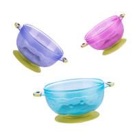 儿童宝宝餐具 婴儿强力吸盘碗带盖 辅食训练碗带盖便携a452 吸盘碗三件套