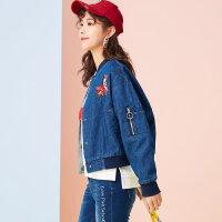 【2件2.5折到手价:】美特斯邦威春新款夹克外套女韩版chic牛仔棒球服