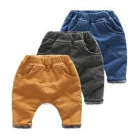 男婴儿童加厚加绒牛仔裤子小童3女童宝宝春秋装2秋冬季1岁0大PP裤