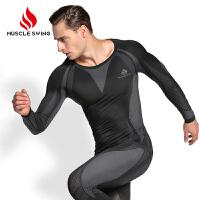 户外运动功能内衣滑雪跑步骑行紧身衣男女排汗速干保暖登山服套装 黑色 男款